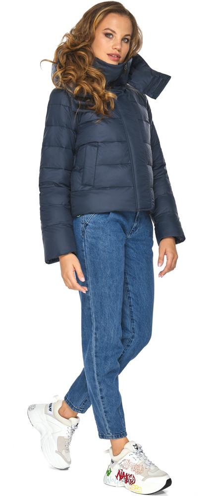 Пуховик темно-синий зимний женский с манжетами модель 21470