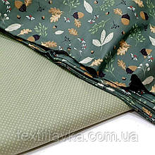 Ткань хлопок для рукоделия мелкий горошек на оливковом