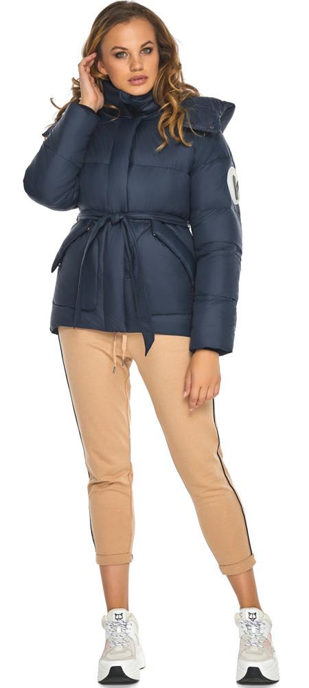 Пуховик синий женский короткий на зиму модель 24350