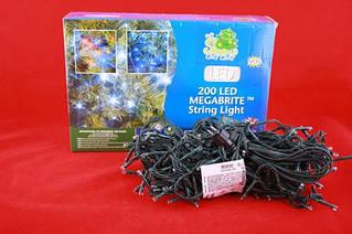 Электрическая елочная гирлянда на 200 LED-ламп прозрачная, подходит для улицы