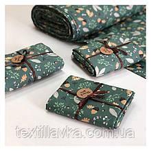 Ткань хлопок для рукоделия желуди и листья