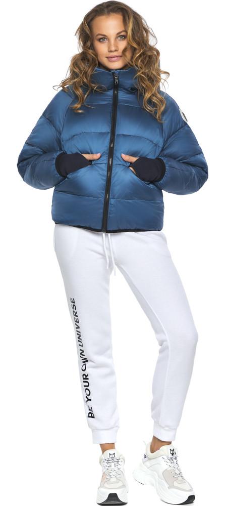 Аквамариновий пуховик жіночий зимовий модель 26420 розмір 42 (3XS)