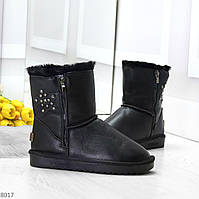 Модные зимние средние женские черные угги на меху из натуральной кожи, фото 1