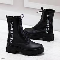 Ультра модные черные милитари зимние женские ботинки из натуральной кожи, фото 1