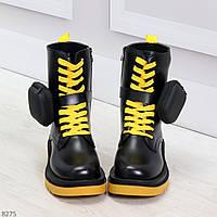 Дизайнерские яркие черные женские ботинки с кошельками на желтой шнуровке, фото 1