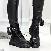 Черные демисезонные женские ботинки мартинсы с кошельками низкий ход, фото 1