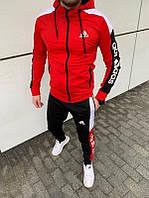 Спортивный костюм мужской Adidas весенний осенний красный | Комплект Кофта + Штаны Адидас ТОП качества
