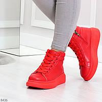 Крутые яркие красные женские кроссовки кеды криперы на шнуровке, фото 1