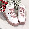 Стильные высокие белые женские кроссовки кеды криперы на розовой шнуровке