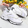 Эффектные белые текстильные женские кроссовки стразы по доступной цене
