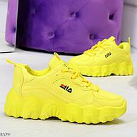 Яркие желтые лимонные неоновые молодежные женские кроссовки, фото 1