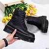 Трендовые черные фактурные женские ботинки гриндерсы на утолщенной подошве