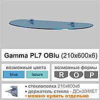 Стеклянная полка Сommus PL7 O (210х600х6мм) (овальная прозрачная, голубая, графит, бронза)