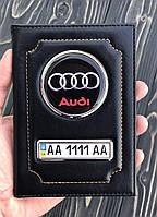 Кожаная обложка для автодокументов с логотипом и гос. номером авто черная глянцевая кожа