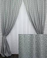 "Шторы (2шт.1,5х2.7м) из плотной ткани лен ""Корона Мария"", Цвет серый. Код 641ш 30-412, фото 1"