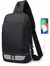Однолямочний рюкзак Ozuko 9115 чоловічий міський вологостійкий USB порт чорний 6л