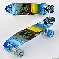 Скейт Пенні Борд Best Board 3270 дошка 55см, колеса PU, світяться d=6см