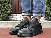 Мужские демисезонные кроссовки Nike Air Jordan 1 Low - обувь мужская кожаная Найк Джордан черные
