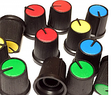 Ручка для змінного резистора R-02 жовта (D=15мм H=15мм), з покажчиком, фото 2