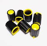 Ручка для змінного резистора R-04 чорна/жовта (D=15мм H=21мм), з покажчиком, фото 2
