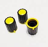 Ручка для змінного резистора R-04 чорна/жовта (D=15мм H=21мм), з покажчиком, фото 3