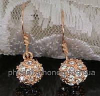 Серьги - шарики с кристаллами Swarovski, покрытые золотом (201670)