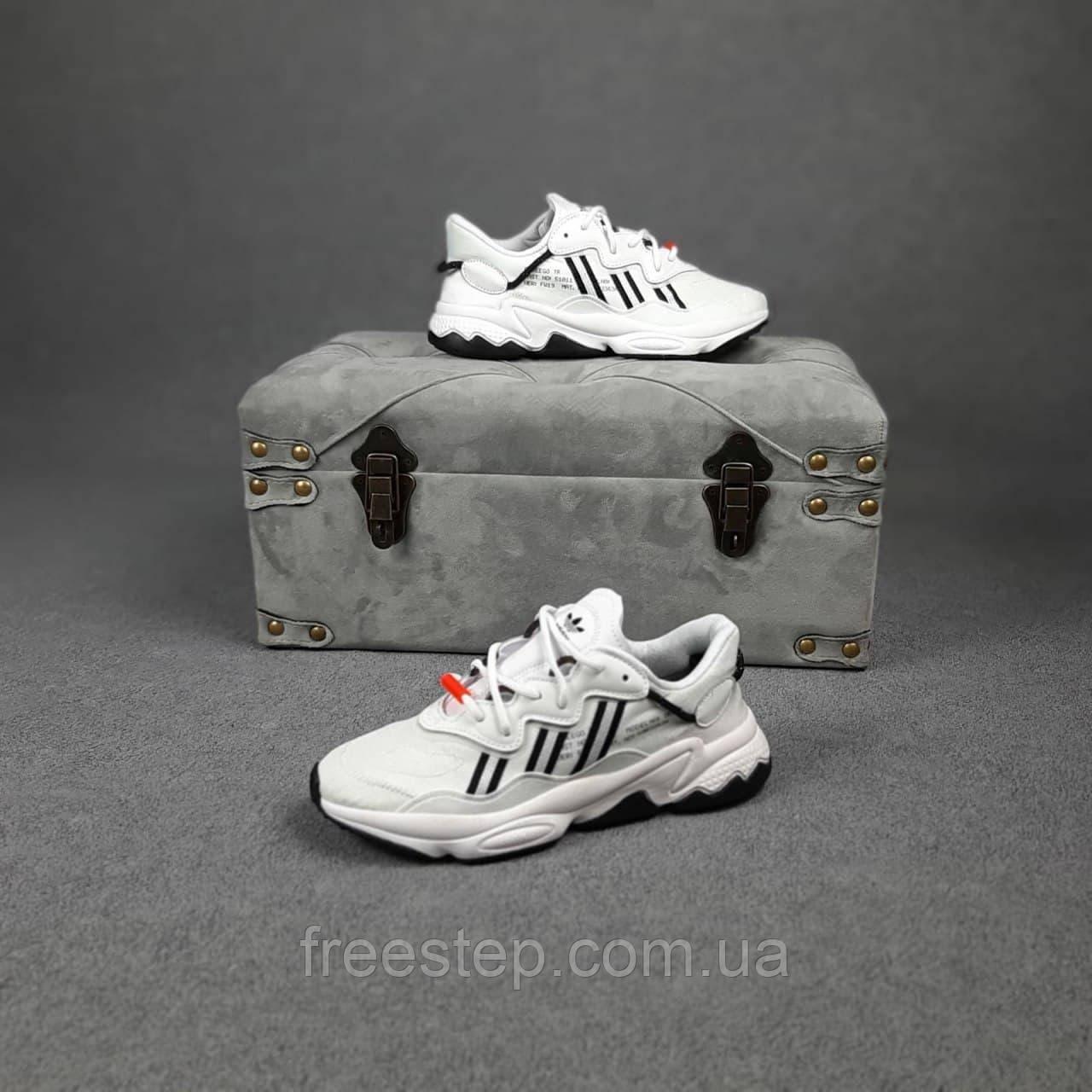 Мужские кроссовки в стиле Adidas Ozweego TR белые с чёрным