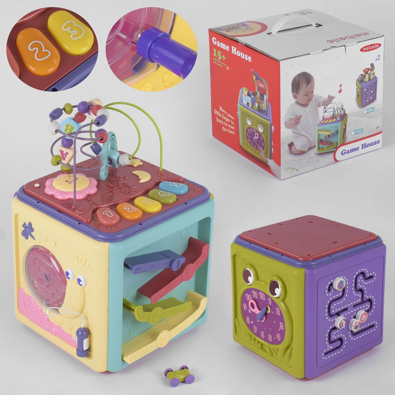 Музыкальная развивающая игрушка куб 01522, звук, свет