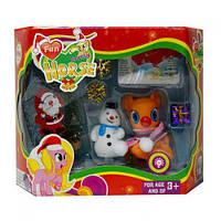 """Новогодний набор """"Lovely Pony"""" (с оранжевым пони), лошадки пони,детские игрушки,пони,лошадка"""