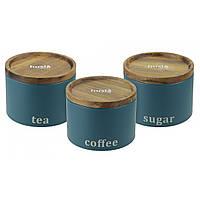 Набор емкостей для хранения: кофе, чай, сахар Зеленый Husla (73950)