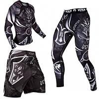 Мужской компрессионный костюм Venum 3в1 : Рашгард, шорты, леггинсы.