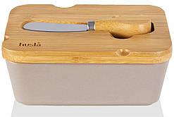 Масленка с бамбуковой крышкой и ножом HUSLA Hygge (73971)