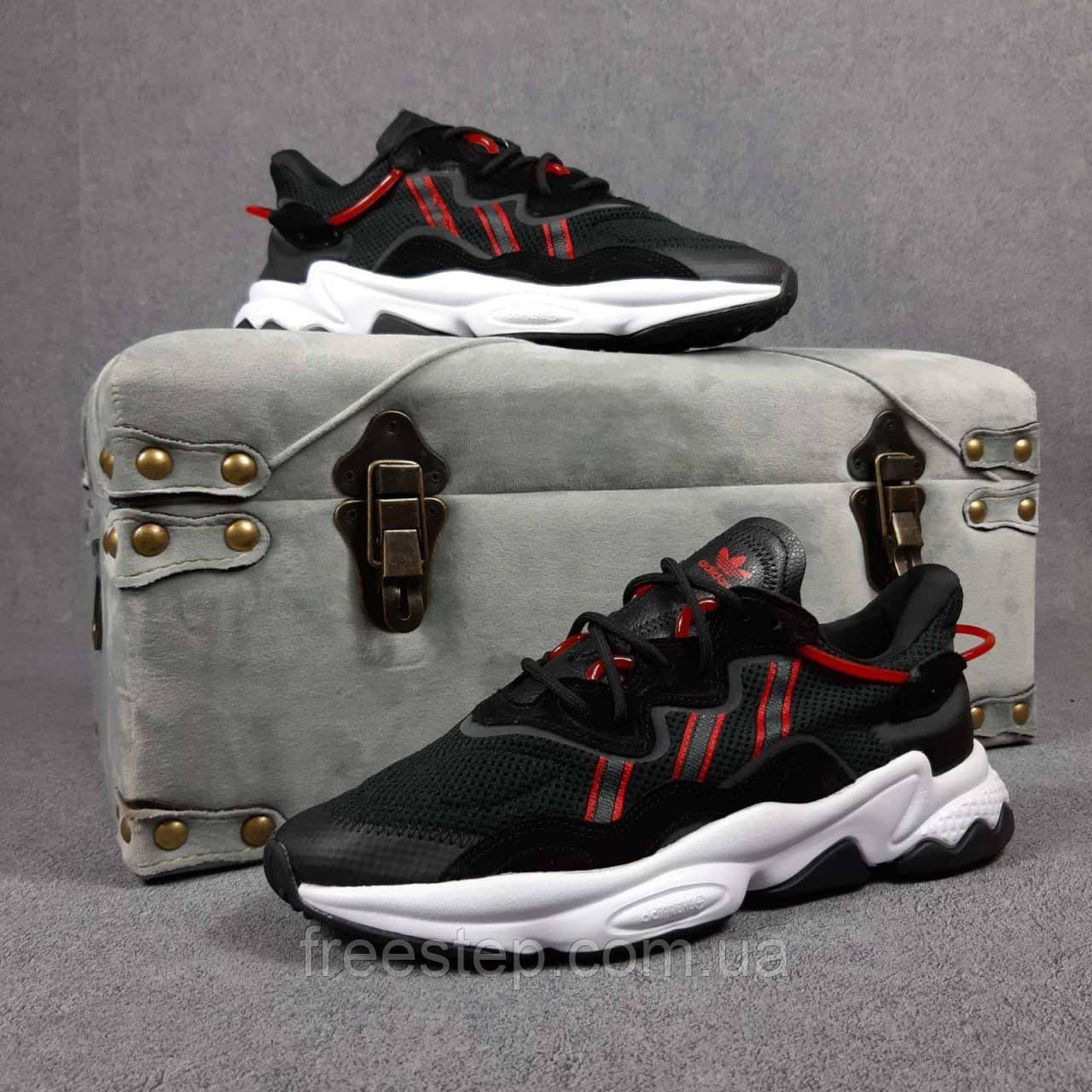 Чоловічі кросівки в стилі Adidas Ozweego чорні з червоним