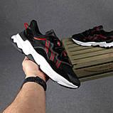 Чоловічі кросівки в стилі Adidas Ozweego чорні з червоним, фото 3