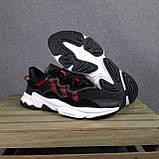 Чоловічі кросівки в стилі Adidas Ozweego чорні з червоним, фото 4