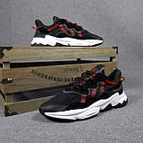 Чоловічі кросівки в стилі Adidas Ozweego чорні з червоним, фото 6