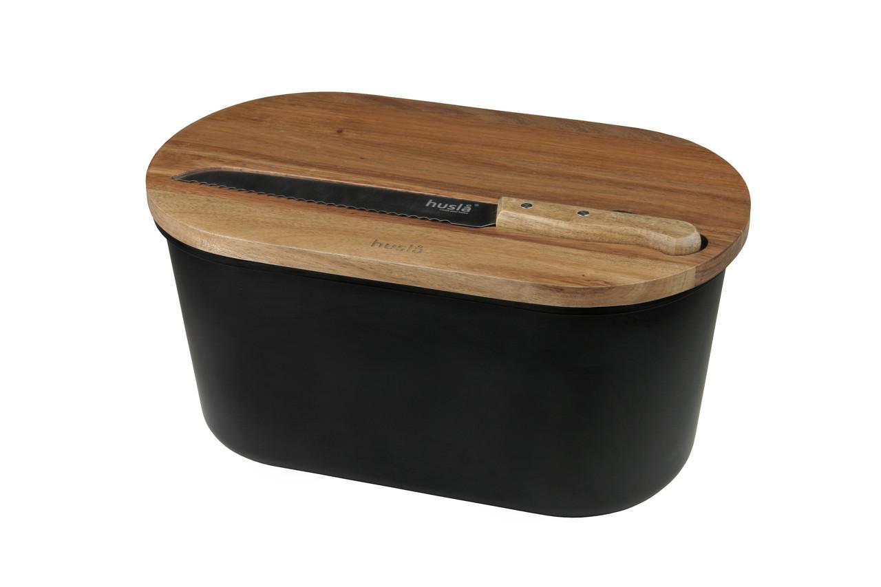 Хлебница с доской и ножом для нарезки Husla (73935)