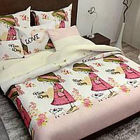 Комплект постельного белья полуторный 150/220 с детским рисунком,одна нав-ка 70/70,ткань сатин 100% хлопок