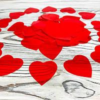 Конфетти сердечки красные 35мм, 10 грамм/320шт наполнитель для шаров, для декора, для генераторов конфетти