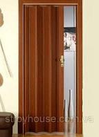 Двери гармошка Орех Мускатный Folding межкомнатные, глухие, складные, раздвижные, пластиковые, скрытые