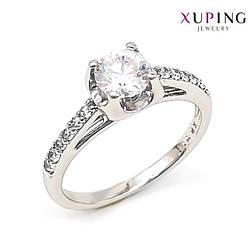 Кольцо Xuping, белые фианиты (куб. цирконий), ширина 6 мм, вес 3 г, родий (белое золото), ХР01139 (17)