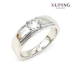 Кольцо Xuping, белые фианиты (куб. цирконий), ширина 6 мм, вес 4 г, родий (белое золото), ХР01140 (17)