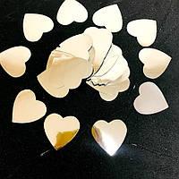 Конфетти сердечки, серебристые,35мм,10 грамм/320шт наполнитель для шаров, для декора, для генераторов конфетти