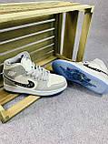 Мужские кроссовки в стиле Jordan 1 Retro High Dior белые с серым, фото 5