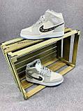Мужские кроссовки в стиле Jordan 1 Retro High Dior белые с серым, фото 7