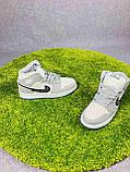 Мужские кроссовки в стиле Jordan 1 Retro High Dior белые с серым, фото 9