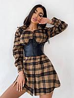 Сукня сорочка жіноча тепле байкове в клітку з поясом Smb5290