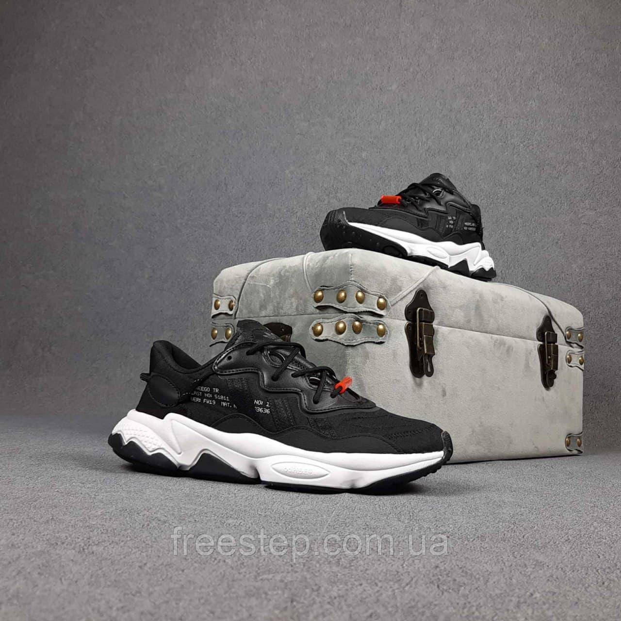 Жіночі кросівки в стилі Adidas Ozweego TR чорні на білому