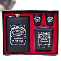 Фляга з чарками Jack Daniels 240 мл Подарунковий набір фляга і чарки + портсигар