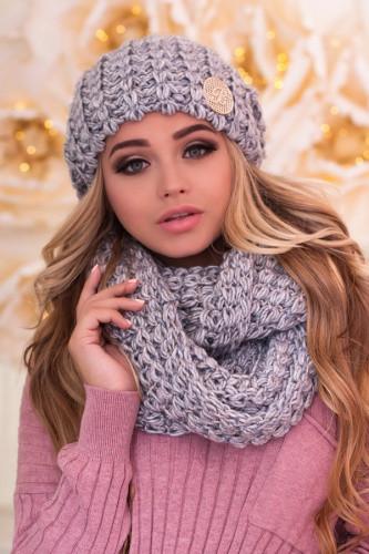 Зимний женский комплект «Космея» (шапка и шарф-снуд) світло-сірий+блакитний